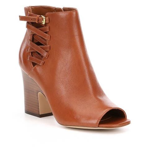 Lauren by Ralph Lauren Womens Maryam Leather Open Toe Ankle Fashion Boots
