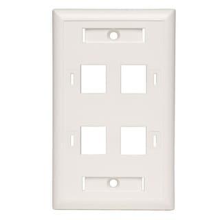 Tripp Lite 4Port Quad Outlet Rj45 Universal Keystone Face /Wall Plate White Taa