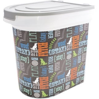 "Plastic Rolling Pet Food Bin 15.5""X13.25""X16.75""-Word Play"