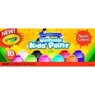 Crayola Washable Washable Kid's Paint Set, Assorted Neon, 2 oz, Set of 10