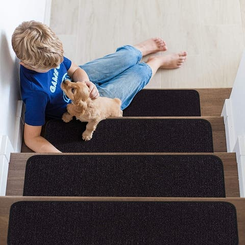 """Beverly Rug Indoor Non Slip Carpet Stair Treads 8.5""""x 26"""" Solid Colors"""