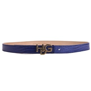 Givenchy Womens Snake Embossed Blue Leather Skinny Belt