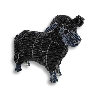 Beadworx Black Glass Bead Sheep Sculpture