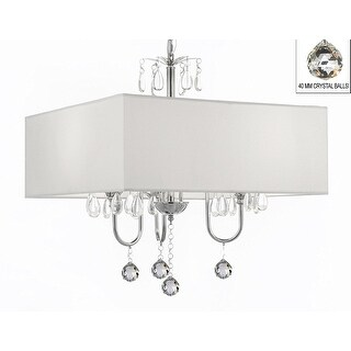 Modern Contemporary Crystal Chandelier With Large Square White Shade and Crystal Balls!