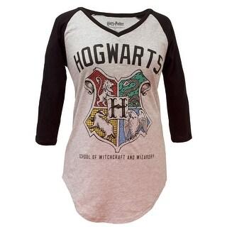 Harry Potter Hogwarts Crest Women's V-Neck Raglan T-Shirt