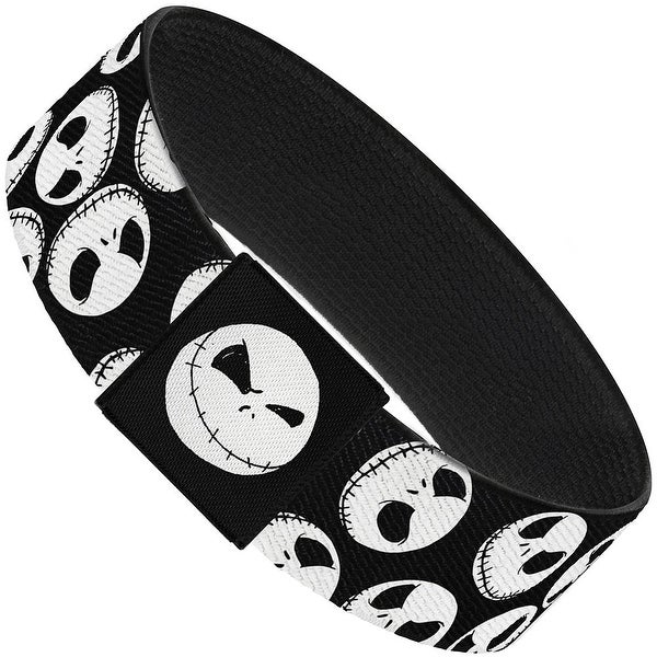"Nightmare Before Christmas Jack Expressions Scattered Black White Elastic Elastic Bracelet  1.0"" Wide"