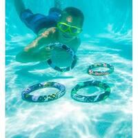 "Set of 4 Aqua Fun Active Xtreme Multi-Colored Swimming Pool Dive Rings 7.5"""