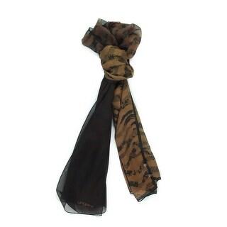 Ungaro UN7018 S8058 Floral Mesh Print Brown Silk Scarf