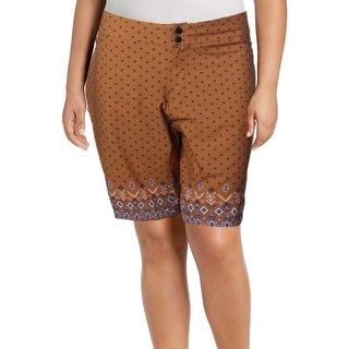 Shebeest Womens Plus Skinny Americano Casual Shorts Printed Summer - Boho Salted Camel - 2X