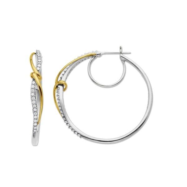 1/2 ct Diamond Hoop Earrings in Sterling Silver & 14K Gold