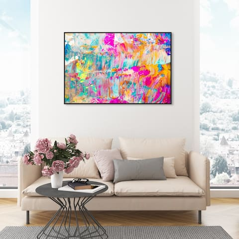 Oliver Gal 'Sunshine Days' Abstract Wall Art Framed Canvas Print Paint - Pink, Blue