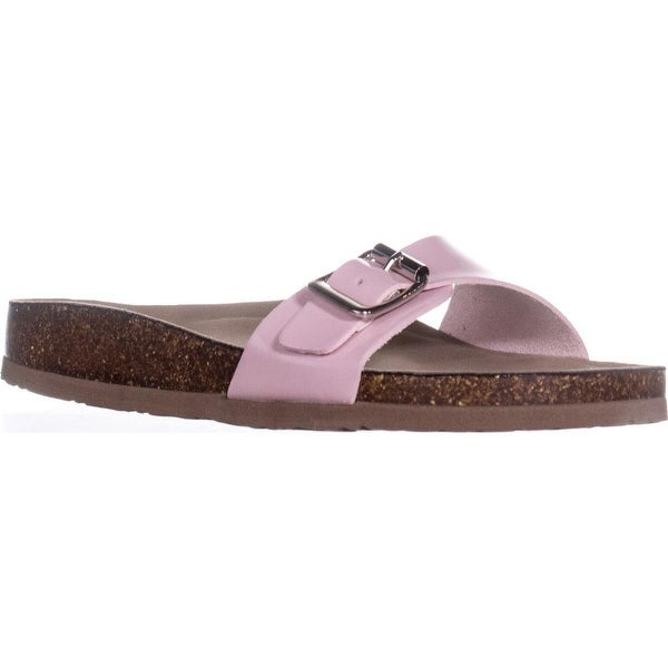madden girl Baallot Slide Sandals, Pink Patent - 7 us