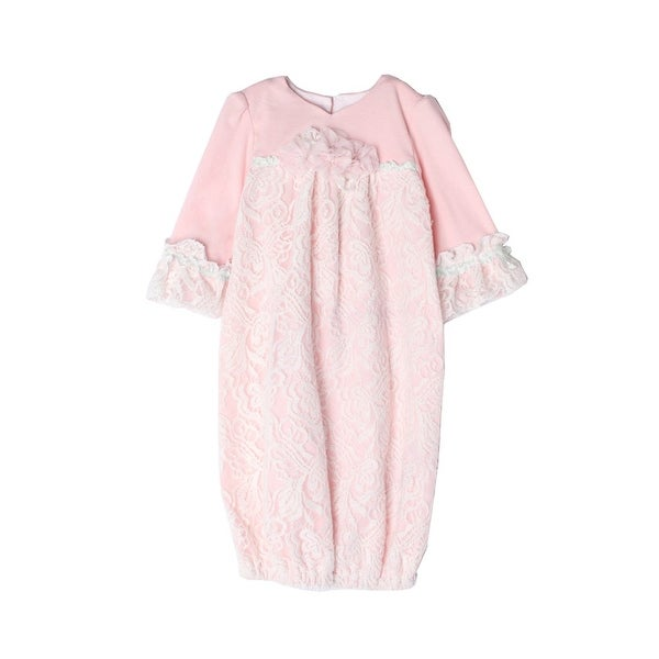 Isobella & Chloe Baby Girls Light Pink Sweet Pea Lace Layette Sack