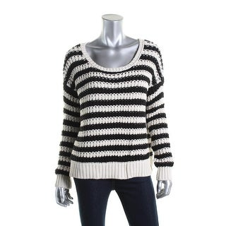 Free People Womens Striped Long Sleeves Pullover Sweater