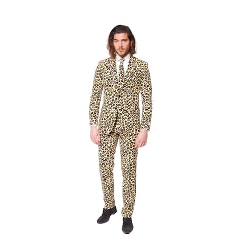 Beige and Black Animal Printed Men Adult All Year Suit - 2XL - xx-large