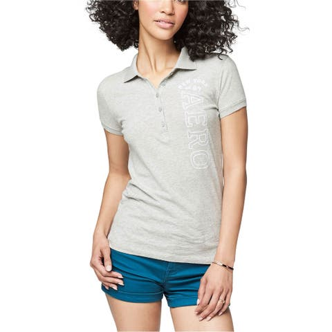 Aeropostale Womens New York Polo Shirt, Grey, X-Large
