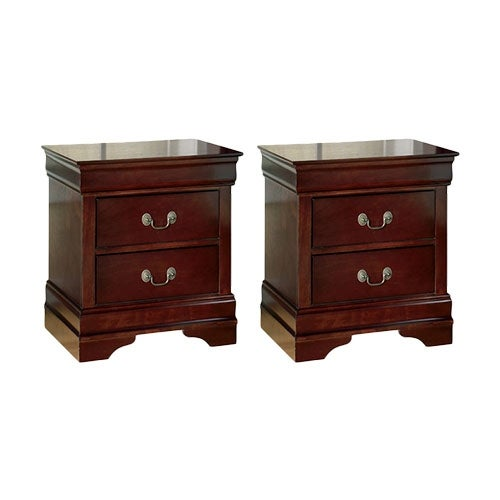 Ashley B376-92 Alisdair Two Drawer Night Stand w/ Deep Brown Finish (2 Pack)