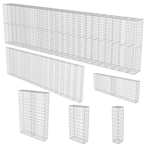 vidaXL Gabion Wall with Covers Galvanized Steel