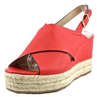 Via Spiga Triana Open Toe Leather Wedge Heel