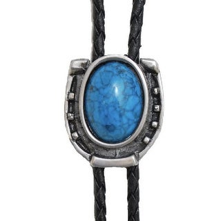 Bolo Tie - Antique Silver with Blue Stone - One size