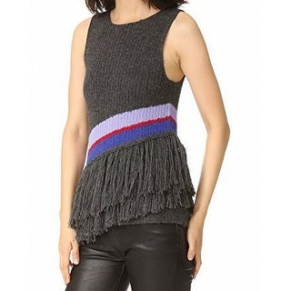 Harare NEW Gray Womens Size Large L Asymmetric Tiered Fringe Knit Top