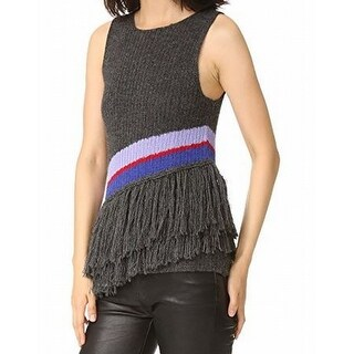 Harare NEW Gray Womens Size Small S Asymmetric Tiered Fringe Knit Top