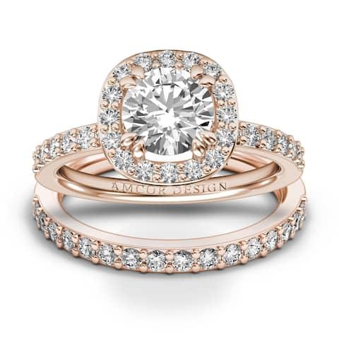 14KT Gold 1.38 CT Halo Round Cut Diamond Engagement Ring Bridal Set Wedding Band Amcor Design