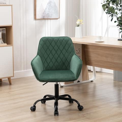 Velvet Upholstered Swivel Tufted Adjustable Height Homeoffice Task Chair