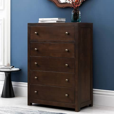 Vintage Aesthetic 5 Drawers Solid Wood Chest