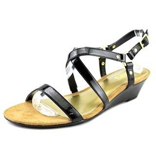 Chaps Mackenzee Women Open Toe Synthetic Black Wedge Sandal