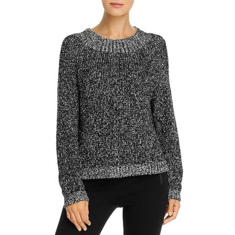 Eileen Fisher Womens Pullover Sweater Organic Cotton Funnel Neck - Black/White