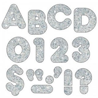 2 in. Casual Ready Letters, Silver Sparkle - Pack of 6