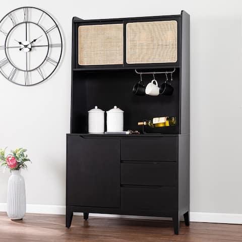 Transitional Black Wood Rattan Storage Buffet Cabinet