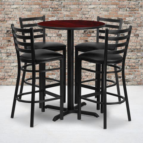 """30"""" Round Mahogany Laminate Table with X-Base and 4 Ladder Back Metal Barstools - 30""""W x 30""""D x 42""""H"""
