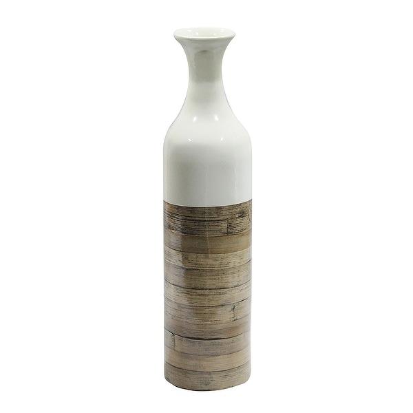 "24"" Spun Bamboo Bottle Vase - White Lacquer & Natural Bamboo"