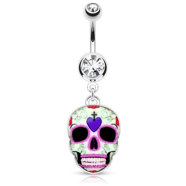Purple Sugar Skull 316L Surgical Steel Dangle Navel Ring