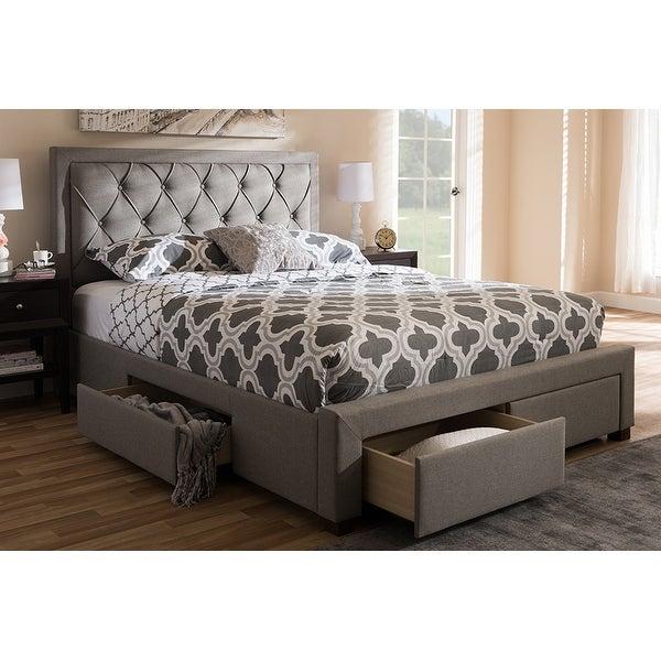 27491b600dc8 Shop Aurelie Light Grey Fabric Upholstered Storage Bed (Queen ...