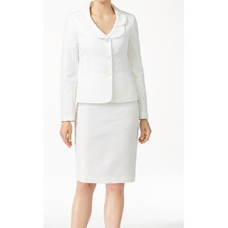 Le Suit NEW White Vanilla Ice Women's Size 6 3-Button Skirt Suit Set
