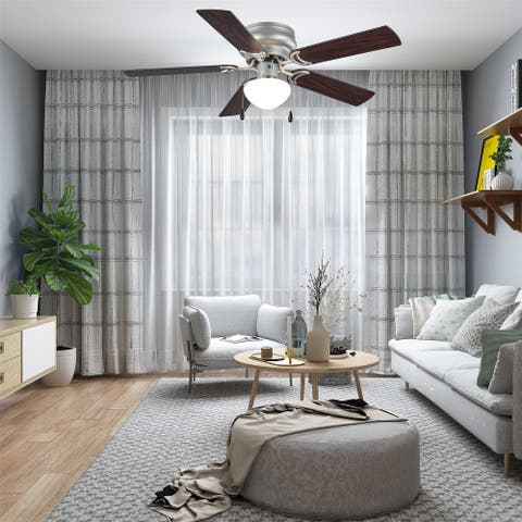"""44"""" Hugger Indoor Ceiling Fan with Single Light, Bronze, 5 Blades, LED Bulb,Reverse Airflow"""