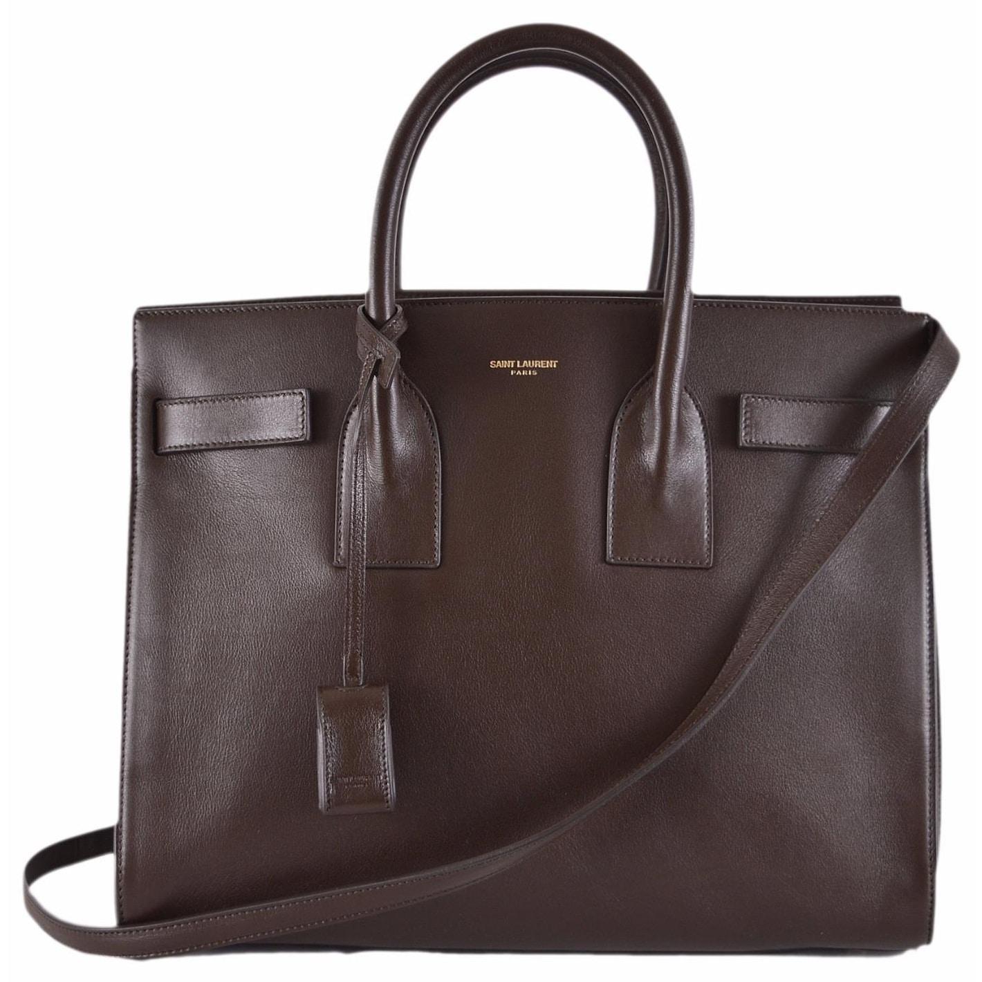 ee992185abf6 Yves Saint Laurent YSL Brown Leather Sac de Jour Small Handbag Purse  W Strap -