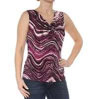 CALVIN KLEIN Womens Purple Printed Sleeveless V Neck Top  Size: S