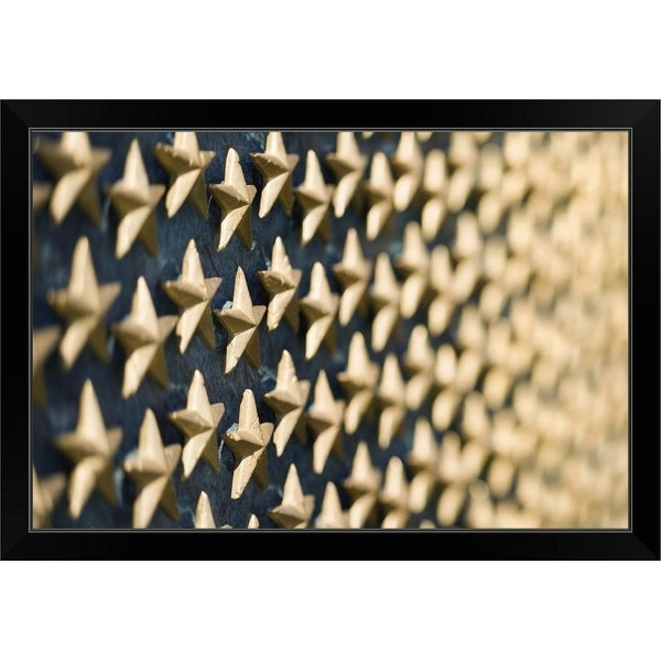 """Field of gold stars on World War II Memorial, Washington, DC"" Black Framed Print"