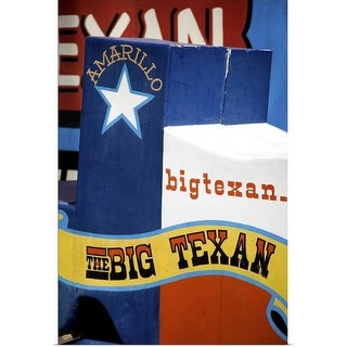 """Big Texan Steak Ranch sign on Historic Route 66, Texas"" Poster Print"