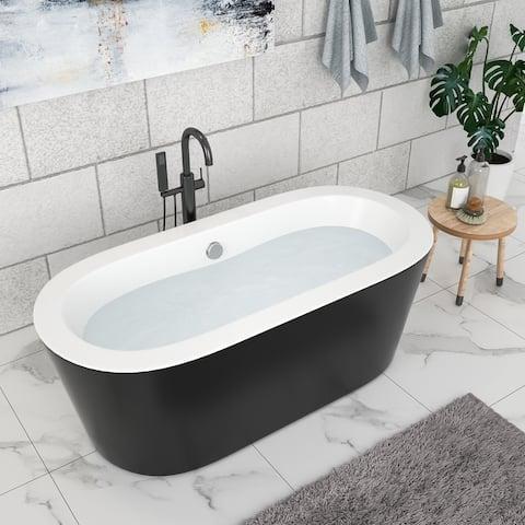 "67"" Acrylic Freestanding Bathtub Black Oval Soaking Bathtub with Brushed Nickel Overflow and Drain"