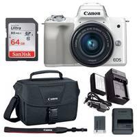Canon EOS M50 15-45mm Mirrorless Digital Camera (White) with 64GB Bundle