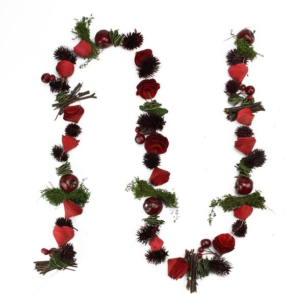 5' Decorative Red Wooden Rose, Twig and Apple Artificial Christmas Garland - Unlit