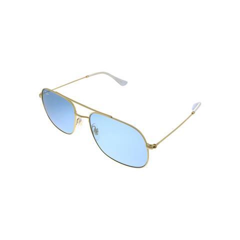 Ray-Ban RB 3595 901380 56mm Unisex Gold Frame Blue Lens Sunglasses