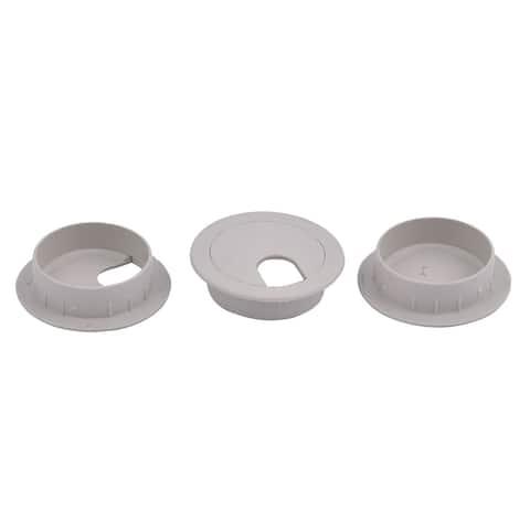 Plastic Computer Desk Round Grommet Wire Cable Hole Cover Cap Gray 3pcs