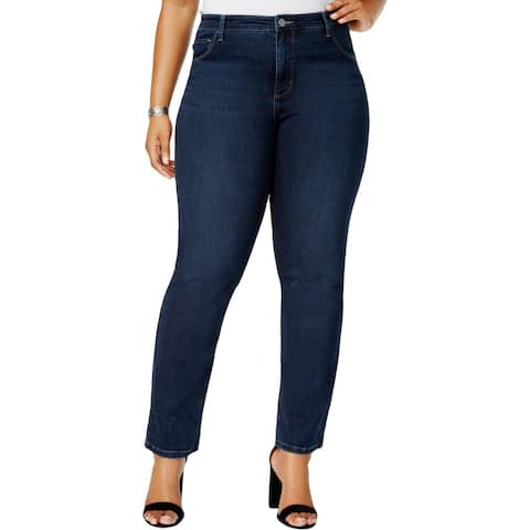 Lee Womens Plus Straight Leg Jeans Mid-Rise Classic Fit
