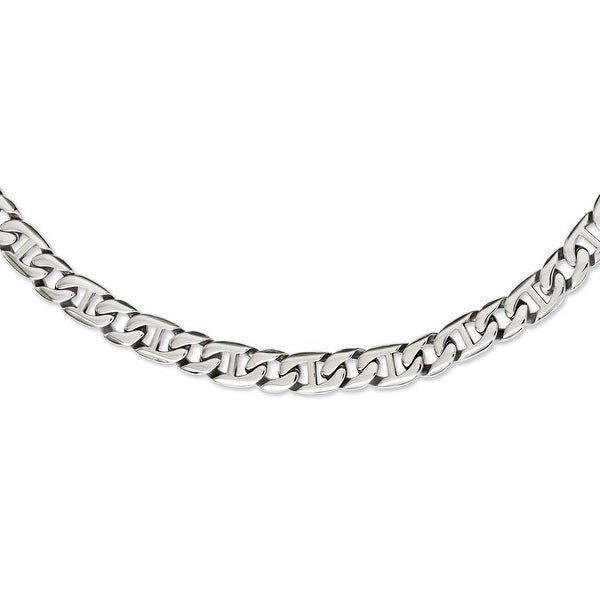 Chisel Stainless Steel Polished Links Necklace (9 mm) - 24 in